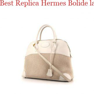 a7fc0fbfb9d7 ... Best Replica Hermes Bolide large model handbag in white Swift leather  and beige canvas £2