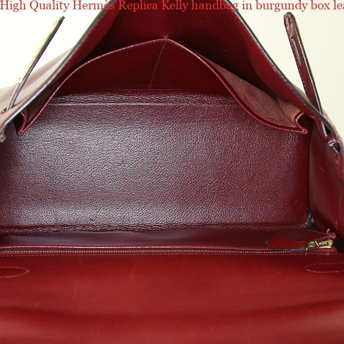 9a2431ff0fa High Quality Hermès Replica Kelly handbag in burgundy box leather