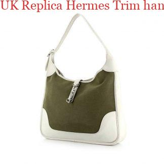 187d9317a02d ... UK Replica Hermes Trim handbag in khaki canvas and white leather ...